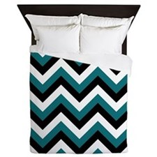 Teal white and Black Chevrons 2 Queen Duvet