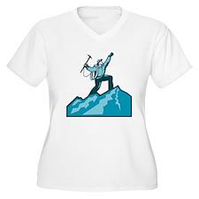 Mountain Climber Summit Retro Plus Size T-Shirt