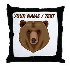Custom Brown Grizzly Bear Throw Pillow