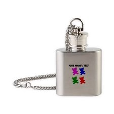 Custom Pop Art Teddy Bear Silhouettes Flask Neckla
