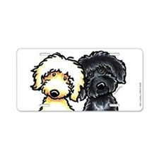 Black Yellow Labradoodle Aluminum License Plate