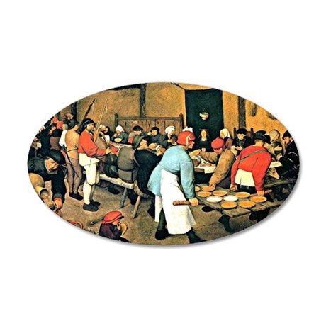Bruegel - Peasant Wedding, 1 35x21 Oval Wall Decal