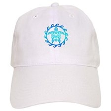 Blue Tribal Turtle Sun Baseball Baseball Cap