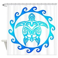 Blue Tribal Turtle Sun Shower Curtain