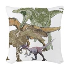 3-theropods.png Woven Throw Pillow