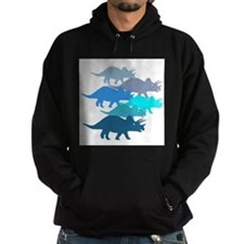Blue Triceratops Family Hoodie