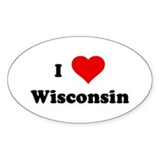 I Love Wisconsin Oval Decal
