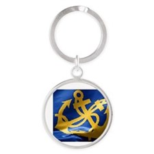 nautical crossed anchor Round Keychain