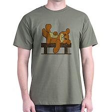 BROWN&TAN TILE RESTING BEAR DARK T-Shirt