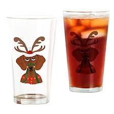 Dachshund Reindeer Drinking Glass