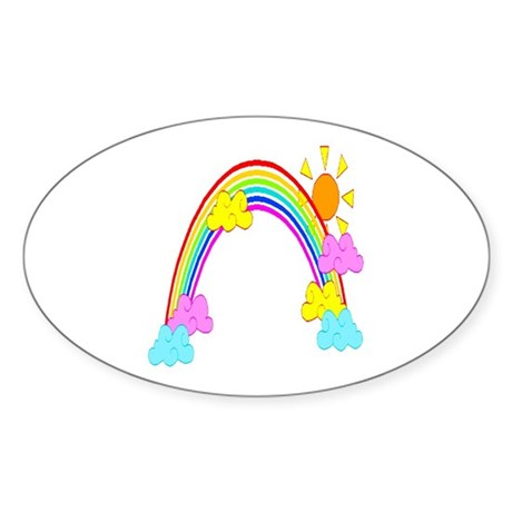 Rainbow Oval Sticker