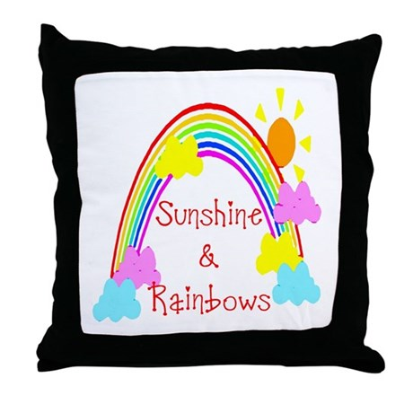 Sunshine Rainbows Throw Pillow