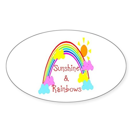 Sunshine Rainbows Oval Sticker