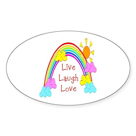 Rainbow Love Oval Sticker
