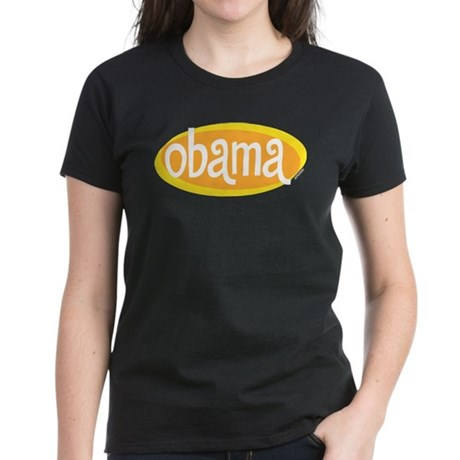 Obama Retro Womens Black T-Shirt