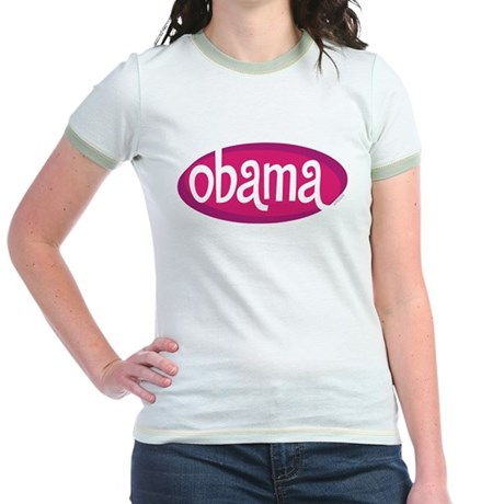 Obama Retro Pink Jr Ringer T-Shirt