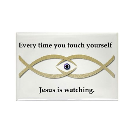 Funny Jesus Fish Rectangle Magnet