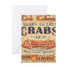 crab seafood woodgrain sign Greeting Card