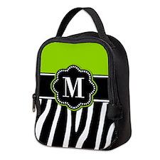 Lime Green Zebra Monogram Neoprene Lunch Bag