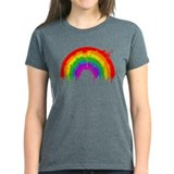 Rainbow Splatter Women's Black Tee