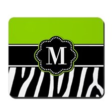 Lime Green Zebra Monogram Mousepad