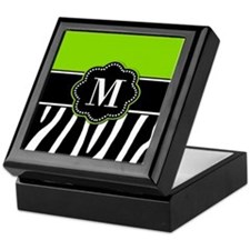 Lime Green Zebra Monogram Keepsake Box