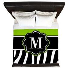 Lime Green Zebra Monogram King Duvet