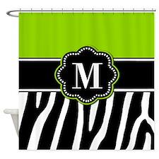 Lime Green Zebra Monogram Shower Curtain