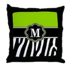 Lime Green Zebra Monogram Throw Pillow