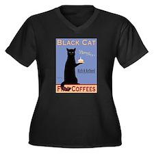 Black Cat Coffee Women's Plus Size V-Neck Dark T-S