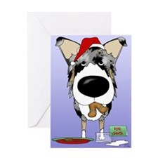 Smooth Collie Santa Greeting Card