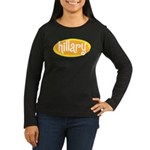 Retro Hillary Women's Long Sleeve Black Tee