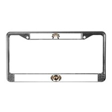 Native Art License Plate Frame Metis Wolf Flag