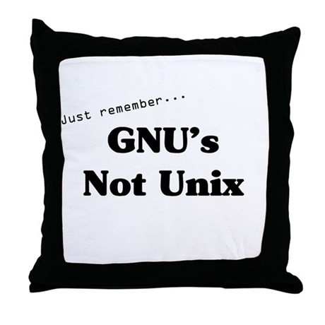 GNU's Not Unix Throw Pillow