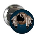 Native Art Button Wildlife Buffalo, Eagle Feathers