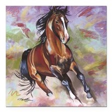 "Stallion Running  Square Car Magnet 3"" x 3"""