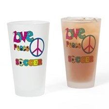 Love Peace Soccer Drinking Glass