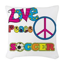Love Peace Soccer Woven Throw Pillow