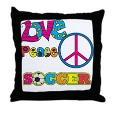 Love Peace Soccer Throw Pillow