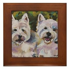 Two Westies Framed Tile
