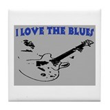 I LOVE THE BLUES Tile Coaster