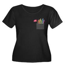 Flower Crayon Pocket Plus Size T-Shirt