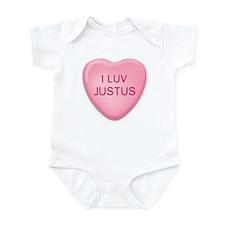 I Luv JUSTUS Candy Heart Infant Bodysuit