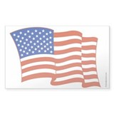 Waving American Flag Rectangle Bumper Stickers