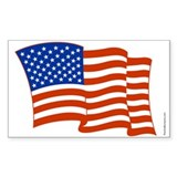 Waving American Flag Rectangle Stickers