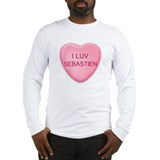 I Luv SEBASTIEN Candy Heart Long Sleeve T-Shirt