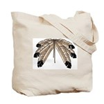 Native Art Tote Bag Wildlife Bison, Eagle feathers