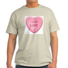 I Luv LUKE Candy Heart Ash Grey T-Shirt