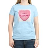 I Luv KEEGAN Candy Heart Women's Pink T-Shirt