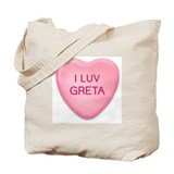 I Luv GRETA Candy Heart Tote Bag